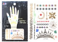 nail tattoo sticker - Hot Sell Hands Nails Tattoo Temporary Tattoos Flash Tattoo Metal Tattoo Water Sticker Waterproof Tattoo Sticker Metallic Tattoo