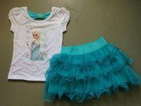 Wholesale Short Blue Skirt Cartoon - 2015 New Children Girls Frozen Outfits Kids Short Sleeve Shirt + Blue Tutu Skirt 2 pcs Sets Cartoon Elsa Pompon Set B3579