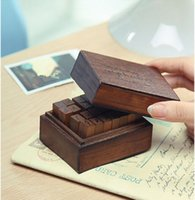wood letters - 2015 Novel Stationery Vintage Stamp Sets Uppercase Lowercase Wooden Box Alphabet Seals DIY Diary Stamps Cute Letter Sets Kids Gift Hot