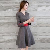 100% cotton plus size - Tweed Dress Vestido De Festa Korean Kawaii Winter Dresses Tunique Femme Pin Up Vintage S S Clothing Vestidos