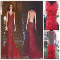 Wholesale Real Image Arabic Backless Red Mermaid Evening Dresses Charming Long Prom Gowns Sequins Sweetheart Lace Applique Formal Evening Gowns
