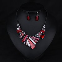 asian sheets - Wedding Jewelry Sets European and American fashion necklace high quality sheet clavicle chain earrings suit