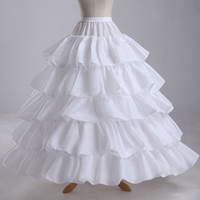 Wholesale Satin Gowns Skirts Petticoats - Charming 4 Hoop Ruffles Tiers Bridal Slip Gown Wedding dresses Petticoat Rock and Roll Skirt Underskirts For Ball Gown Pageant Dress EN4296