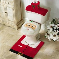 bathroom tank covers - Hot Happy Santa Toilet Seat Cover and Rug Bathroom Set Mat Water Tank Cover for Christmas Decoration