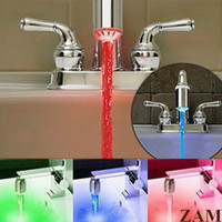 Wholesale 3 Color Water Tap Glow LED Faucet Stream Light Novelty Temperature Sensor Safety Environmental Protection Shower ZAM