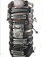 Wholesale Hot Top Design Mixed Mens Fashion Leather Alloy Bracelets Wristbands Jewelry Skull Cross World peace