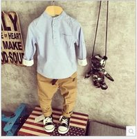 neck cotton collar - 2015 Handsome Boys Causal Sets Solid Stand Collar Shirt Pants without Belt Tights Cotton Outfits Girl s Children Cloth K5166