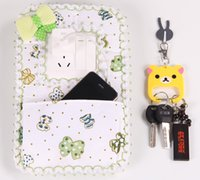 Wholesale Cloth Art Switch Stick Dust Control Switch Cover Socket Wall Stickers With Pocket Holder Phone