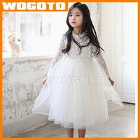 Encaje de manga larga vestido de gasa de moda joven de primavera-otoño con el color Nacklace Niños princesa falda rosada blanca envío libre de DHL