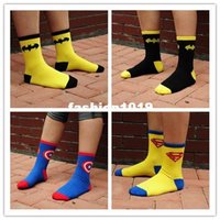 animated designs - Batman superman animated cartoon design men socks cotton individuality creative street in trend of the cotton socks WZ09