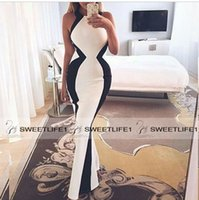 pink and black prom dresses - Jewel Neck Floor Length Black and White Mermaid Prom Dresses Satin Custom Made Sleeveless Popular Trumpet Evening Gowns High Quality