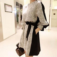korean fashion clothing - 2015 Autumn Winter Fashion Women Clothes Korean Style Contrast Color Patchwork Slim Casual Dresses with Long Sleeve and Girdle