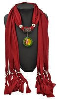 amethyst scarf - Pendant scarves shawls necklace jewelry crystal glass circle pendants new pendant scarf for women Amethyst YWJT0001