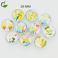 brass fitting - 18MM Minion glass Despicable Me metal snap button fit DIY snap bracelet jewelry for snap button bracelet