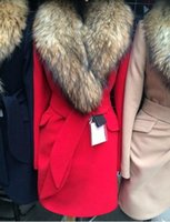 Wholesale Autumn Winter Coat Big Fur Collar Elegant Long Outwear Bow Belt Long Sleeve Warm Winter Wool Coat