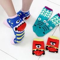 women cute socks - pair Fashion monster novelty cute cartoon women socks cotton short tube slipper sock multi color Korean style