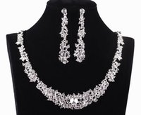 925 necklace - 2015 Twinkle Plated crystal wedding bridal jewelry sets rhinestone Allloy plated necklace and earrings piece NE037 Sample in free s