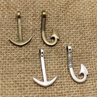Wholesale 50pcs hook and anchor two color Anchor and Fish Hook Charm Pendant Assortment Set Jewelry Findings T0519
