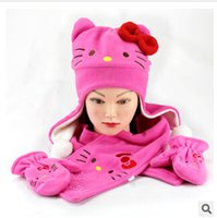 winter hat scarf and glove set - New arrival KT Scarf Hat gloves set winter children scarf hat set kids Kt winter warm cap hat and scarf C1473 set