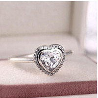 Wholesale European Brand Ring Sterling Silver Ring Heart Ring With Clear Cz Valentines Gift Fits Pandora Jewelry Set DF639