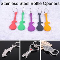 Wholesale 2015 NEW Fashion Alloy Bottle Openers Guitar Shark Compass Eiffel Tower Foot Palm Lute Aluminum Metal Key Chain Keychains Opener Free DHL