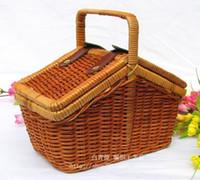 bamboo picnic basket - 1603 Bag straw bag rustic rattan portable storage box finishing box storage box storage box picnic basket