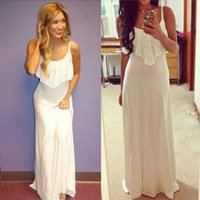 Wholesale Women White BOHO Maxi Chiffon Dress Sleeveless Summer Long Beach Full Sundress