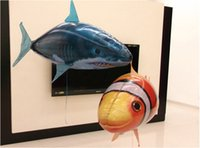 Wholesale RC Remote Control Air Flying Fish Shark Clownfish Inflatable Toy Air Swimming Fish Swimmers In The Air DHL Free