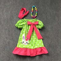 chevron clothing - 2016 new design baby clothes Easter dresses cottom bunny chevron dress short sleeve with matching necklace and bow set