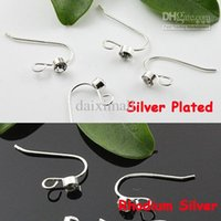 Wholesale Anti Allergy Earwires piece Silver Plated Rhodium Silver Fishhook with a Artificial Diamond Open Hoop Earring Hook
