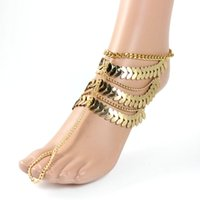Wholesale Punk Style Women Ankle Gold Multilayer Chain Tassel Lovely Leaves Link Toe Decor