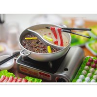 Wholesale 2016 Newest Miniature Dollhouse Plastic Play Food Spicy Chinese Fondue Hotpot Re ment Kitchen Toys for Children