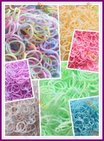 Cheap 600pcs Pastel Glow in the Dark Latex-Free DIY loom bands Refill Pack with 25pcs S clips Pastel styel Bands