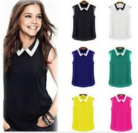 Wholesale Hot Sale New Summer Women Fashion Loose Casual Chiffon Sleeveless Vest Blouse Shirt Hight Quality Tops
