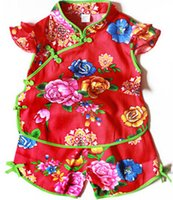 Wholesale Children and baby chinese style cotton Tang suit girls summer for full moon One hundred days formal dress red pink