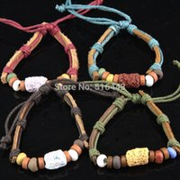 lava rock - Hot Sale New Style Cool Leather Hemp Wood Lava Rock Women Mens Bracelets bangles Jewelry A125