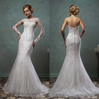 amelia jacket - Amelia Sposa Strapless Mermaid Long Sleeves Wedding Dresses Backless with Detachable Jacket Buttons Tulle Lace Bridal Gowns AS2003