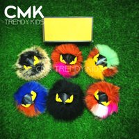 Wholesale CMK FF001 New Arrival Trendy Real Fox Feather Girls Bag Accessories Monster Keychain Women Handbag metal Colors Monster Trendy Stuff