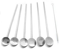 Wholesale Bar hotel supplies multifunctional stainless steel spoon drinking fruit straw stirring rod