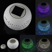 Wholesale Ceramic COLOUR CHANGING Led Solar Sun Powered Filigree Table Light Garden Romantic Retro Lamp