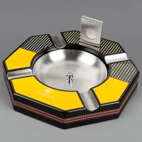 angular steel - COHIBA Six angular Wood Base Cigar Ashtray with Free Stainless Steel Cutter Smoking Gift Set