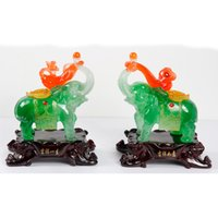 Cheap Auspicious lifetime, imitation jade elephant gifts resin imitation jade ornaments, custom wholesale Yiwu factory
