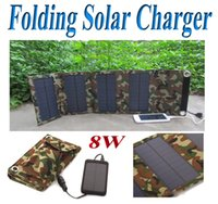 Cheap 8W Foldable Solar Charger Power Bank for Mobile Phone Tablet Camera MP3 4 Waterproof Camo Travel Solar Emergency Charger 20pcs