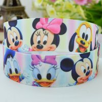 "Ribbons 100% Polyester Yes Free shipping 7 8"" 22mm mickey minnie baby Printed grosgrain ribbon,hairbow DIY handmade clothing materials wholesale 50yards"
