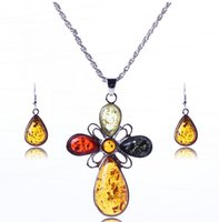 amber jewellry - New Design Flower Jewelry Sets Amber Pendant Necklace Earrings Set Women Jewellry Sets