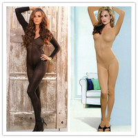 Wholesale Adult Lingerie Sexy Underwear For Women Body Stockings Open Crotch Long Sleeve Bodystocking Black Flesh Opaque BS24215