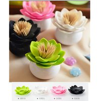 Wholesale pc Fashion Colors Lotus Home Decor Toothpick Cotton Swab Holder Storage Box Pick Toothpick Holder