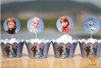 Wholesale 12 set x Frozen Cupcake Wrappers and Toppers cup cake case birthday party novelty