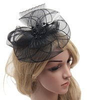 Wholesale Wedding Bride Ornaments Ladies Party Hair Accessories Feather and flower Fascinator Hat Headband color for choose