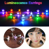 bar toys - New Led Christmas Earrings Studs Toys gifts Novely Dance Party Pub Bar Accessories Fashion Star Earring Lights By DHL